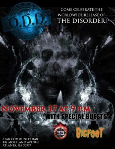 Poster for O.D.D. at Star Bar with other bands Bigfoot and Blowdown